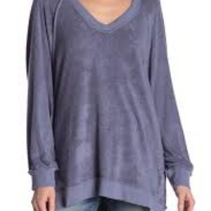 NWT Free People take it off sweatshirt Titanium